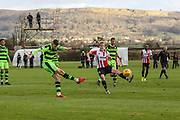 Forest Green Rovers Will Randall(19) shoots at goal during the The Central League match between Cheltenham Town Reserves and Forest Green Rovers Reserves at The Energy Check Training Ground, Cheltenham, United Kingdom on 28 November 2017. Photo by Shane Healey.