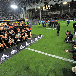 The All Blacks celebrate retaining the Bledisloe Cup after the Rugby Championship and Bledisloe Cup rugby match between the New Zealand All Blacks and Australia Wallabies at Forsyth Barr Stadium in Dunedin, New Zealand on Saturday, 26 August 2017. Photo: Dave Lintott / lintottphoto.co.nz