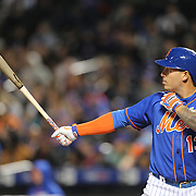NEW YORK, NEW YORK - APRIL 11: Asdrubal Cabrera, New York Mets, batting during the Miami Marlins Vs New York Mets MLB regular season ball game at Citi Field on April 11, 2016 in New York City. (Photo by Tim Clayton/Corbis via Getty Images)