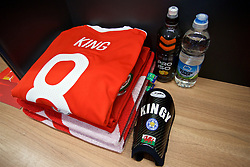 CARDIFF, WALES - Saturday, September 2, 2017: The shirt and shin pad of Wales' Andy King in the dressing room before a pre-match walks at the Vale Resort ahead of the 2018 FIFA World Cup Qualifying Group D match against Austria. (Pic by David Rawcliffe/Propaganda)