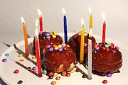 Sufganiyah (Sufganyot) a traditional Jewish Doughnut eaten during Hanukkah with chocolate and smarties
