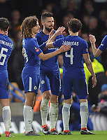 Football - 2017 / 2018 FA Cup - Fifth Round: Chelsea vs. Hull City<br /> <br /> Olivier Giroud of Chelsea celebrates his first goal for the club with Cesc Fabregas, at Stamford Bridge.<br /> <br /> COLORSPORT/ANDREW COWIE