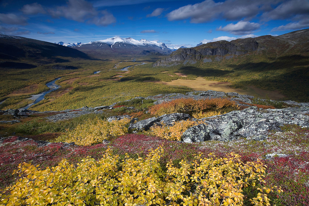 View along Rapadalen from Nammajs, Sarek National Park, Laponia World Heritage Site, Sweden
