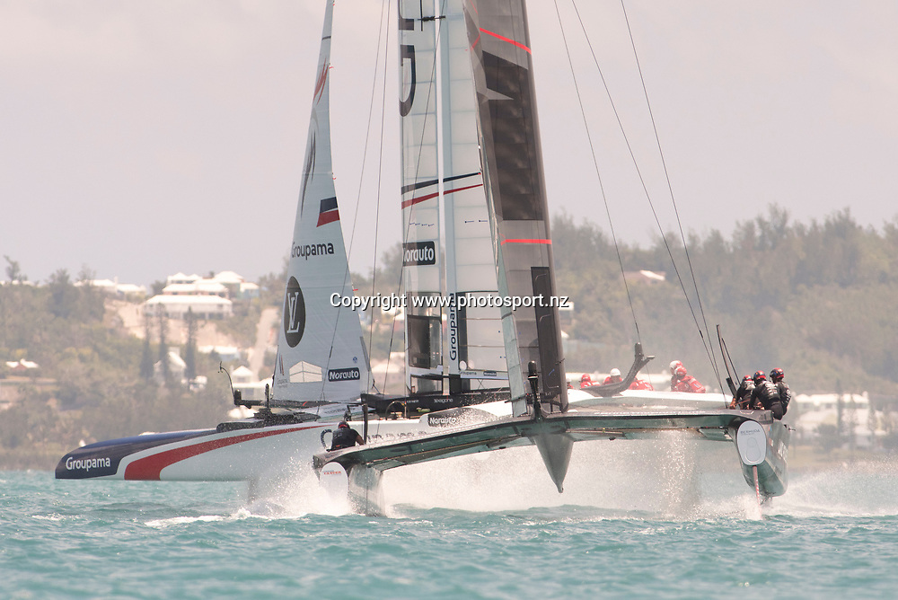 Race 13, Land Rover BAR (GBR) versus Groupama Team France. Groupama win. Day three of the America's Cup Qualifiers, Bermuda 29/5/2017 . Copyright Image: Chris Cameron / www.photosport.nz