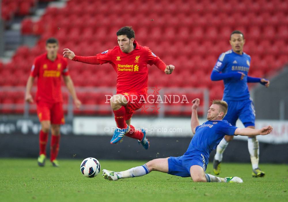 ST HELENS, ENGLAND - Sunday, November 18, 2012: Liverpool's Craig Roddan in action against Chelsea during the Under 21 FA Premier League match at Langtree Park. (Pic by David Rawcliffe/Propaganda)