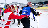 (L) Polish trainer Ewelina Mroz and (R) Marcin Sokolowski  athlete with intellectual disability while in Finals of Cross Country Relay 4 x 1000 meters Race during 2013 Special Olympics World Winter Games PyeongChang at Cross Country Skiing Venue on February 5, 2013...South Korea, PyeongChang, February 5, 2013..Picture also available in RAW (NEF) or TIFF format on special request...For editorial use only. Any commercial or promotional use requires permission...Photo by © Adam Nurkiewicz / Mediasport
