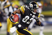 PITTSBURGH - JANUARY 23:  Antwaan Randle El #82 of the Pittsburgh Steelers carries the ball against the New England Patriots during the AFC Championship game at Heinz Field on January 23, 2005 in Pittsburgh, Pennsylvania. The Pats defeated the Steelers 41-27. ©Paul Anthony Spinelli  *** Local Caption *** Antwaan Randle El
