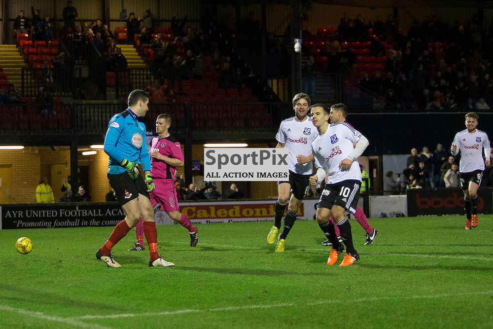Alan Trouten scoring a penalty to make it 3-0 to Ayr  in the Ayr United v Airdrieonians Somerset Park Ayr 21 November 2015<br />
