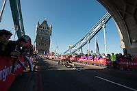 Marcel Hug of Switzerland followed by David Weir of the UK<br /> Wheelchair Men at Tower Bridge<br /> The Virgin Money London Marathon 2014<br /> 13 April 2014<br /> Photo: David Levenson/Virgin Money London Marathon<br /> media@london-marathon.co.uk