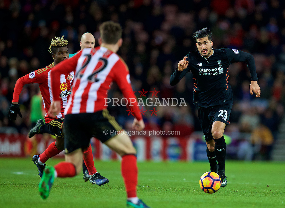 SUNDERLAND, ENGLAND - Monday, January 2, 2017: Liverpool's Emre Can in action against Sunderland during the FA Premier League match at the Stadium of Light. (Pic by David Rawcliffe/Propaganda)