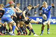 Richard Hibbard tries to charge down kick from Henry Pyrgos during the Guinness Pro 14 2018_19 match between Edinburgh Rugby and Dragons Rugby at Murrayfield Stadium, Edinburgh, Scotland on 15 February 2019.