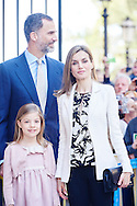 King Felipe VI of Spain, Queen Letizia of Spain and Princess Sofia attended the Easter Mass at the Cathedral of Palma de Mallorca on April 5, 2015 in Palma de Mallorca, Spain.
