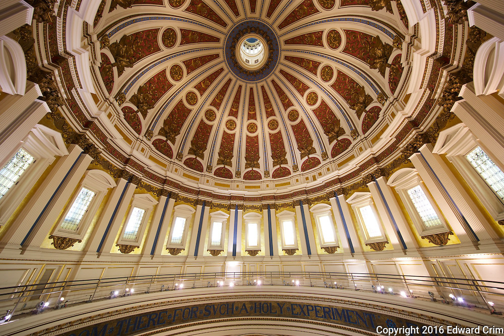Wide view looking up into the interior of the Pennsylvania capitol dome from the gallery.