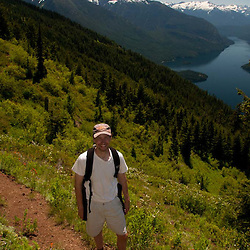 Joe on the Trail to Desolation Peak, North Cascades National Park, Washington, US
