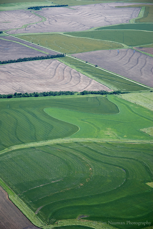 aerial image above Kansas farmlands