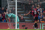 Sead Kolasinac (Arsenal) inside the net after the attempt at goal went wide during the Premier League match between Bournemouth and Arsenal at the Vitality Stadium, Bournemouth, England on 25 November 2018.
