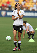 ATLANTA, GA - AUGUST 06:  Forward Alex Morgan #13 of the Western New York Flash takes a break during warmups before the Women's Professional Soccer game between the Atlanta Beat and the Western New York Flash at Kennesaw State University Soccer Stadium on August 6, 2011 in Atlanta, Georgia.  (Photo by Mike Zarrilli/Getty Images)