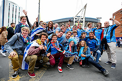 Uruguay supporters gather outside the Millennium Stadium - Mandatory byline: Rogan Thomson/JMP - 07966 386802 - 20/09/2015 - RUGBY UNION - Millennium Stadium - Cardiff, Wales - Wales v Uruguay - Rugby World Cup 2015 Pool A.