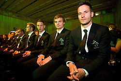 (from R) Zlatan Ljubijankic, Nejc Pecnik, Tim Matavz at official presentation of Slovenian National Football team for World Cup 2010 South Africa, on May 21, 2010 in Congress Center Brdo at Kranj, Slovenia. (Photo by Vid Ponikvar / Sportida)