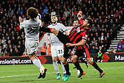 Simon Francis (2) of AFC Bournemouth challenges Marouane Fellaini (27) of Manchester United during the Premier League match between Bournemouth and Manchester United at the Vitality Stadium, Bournemouth, England on 18 April 2018. Picture by Graham Hunt.