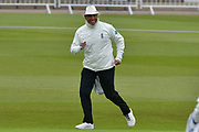 Umpire David Millns does a jig during the Specsavers County Champ Div 2 match between Nottinghamshire County Cricket Club and Sussex County Cricket Club at Trent Bridge, West Bridgford, United Kingdon on 21 April 2017. Photo by Simon Trafford.