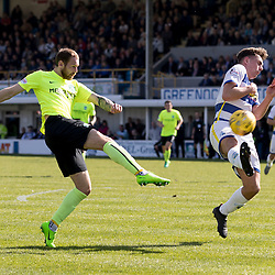 Martin Boyle (Hibernian) has shot blocked  during the Ladbrokes Championship match between Greenock Morton &amp; Hibernian at Cappielow Stadium on 8 April 2017<br /> <br /> Picture: Alan Rennie