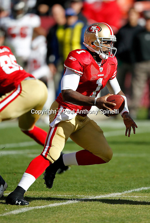 San Francisco 49ers quarterback Troy Smith (1) runs away from defensive pressure during the NFL week 11 football game against the Tampa Bay Buccaneers on Sunday, November 21, 2010 in San Francisco, California. The Bucs won the game 21-0. (©Paul Anthony Spinelli)