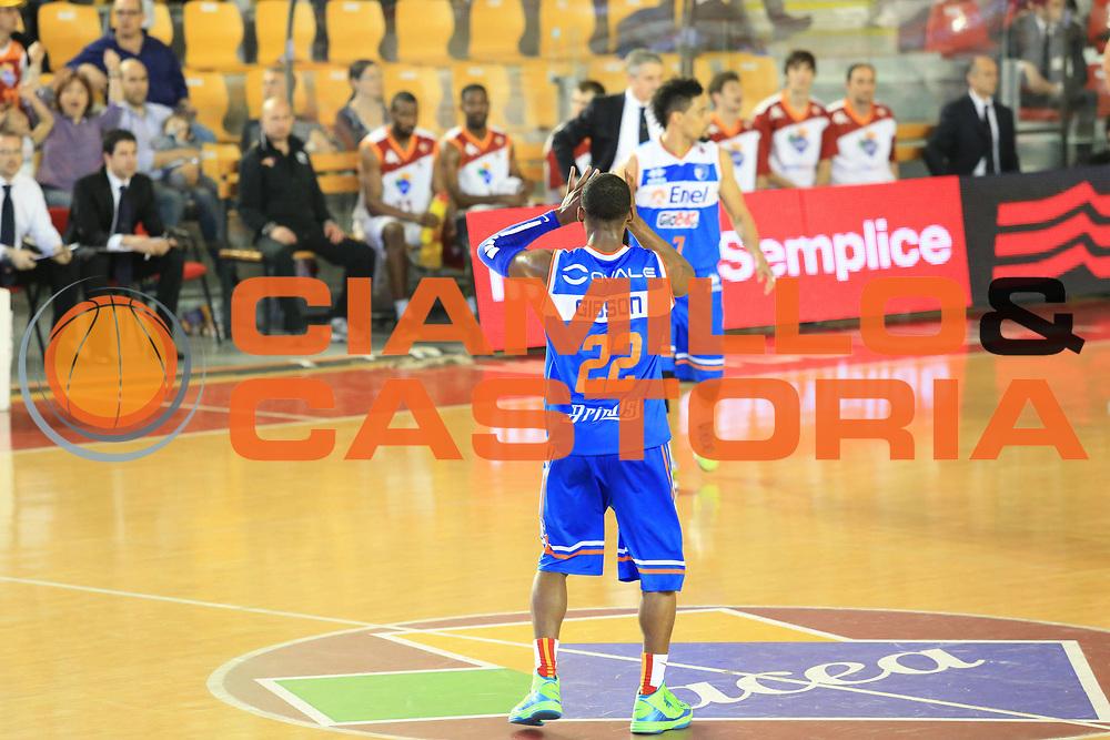 DESCRIZIONE : Roma Lega A 2012-2013 Acea Roma Enel Brindisi<br /> GIOCATORE : Gibson Jonathan<br /> CATEGORIA : esultanza<br /> SQUADRA : Enel Brindisi<br /> EVENTO : Campionato Lega A 2012-2013 <br /> GARA : Acea Roma Enel Brindisi<br /> DATA : 21/04/2013<br /> SPORT : Pallacanestro <br /> AUTORE : Agenzia Ciamillo-Castoria/M.Simoni<br /> Galleria : Lega Basket A 2012-2013  <br /> Fotonotizia : Roma Lega A 2012-2013 Acea Roma Enel Brindisi<br /> Predefinita :