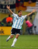 2:1 Jubel Maxi Rodriguez Argentinien<br /> Fussball WM 2006 Achtelfinale Argentinien - Mexiko<br />  Argentina - Mexico<br /> Norway only