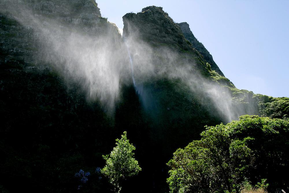 Waterfall near Faj? Grande in Flores island in Azores.