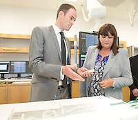 17/09/2013  REPRO FREE Fiachra Sweeney Medtronic  Medtronic with Ms Máire Geoghegan-Quinn, EU Commissioner for Innovation, Research and Science in the Hybrid laboratory during the opening of the Medtronic Global Innovation centre at Medtronic, Galway. Photo:Andrew Downes
