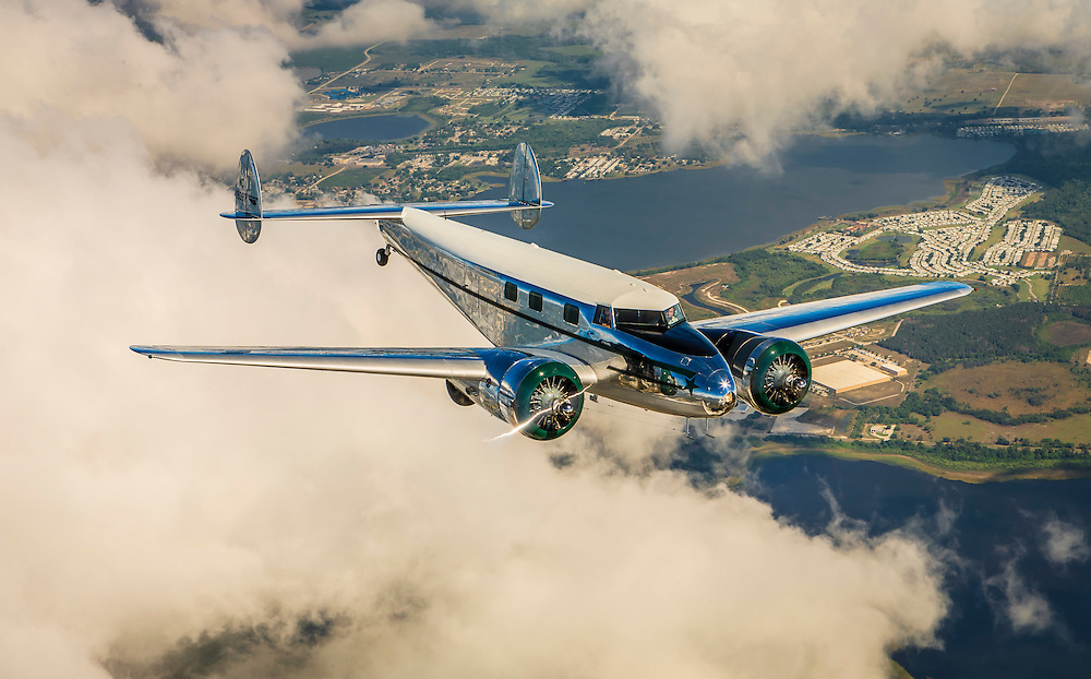 David Marco's Lockheed 12A Electra Junior photographed over Lakeland, Florida.