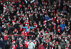 Bristol City fans create a sea of Red and White  with scarves gifted by Bristol Sport   - Photo mandatory by-line: Joe Meredith/JMP - Mobile: 07966 386802 - 25/01/2015 - SPORT - Football - Bristol - Ashton Gate - Bristol City v West Ham United - FA Cup Fourth Round