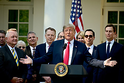 October 1, 2018 - Washington, District of Columbia, U.S. - United States President DONALD J. TRUMP delivers remarks on the United States Mexico Canada Agreement (USMCA) in the Rose Garden of the White House.  Those pictured with the President, from left, include United States Secretary of Agriculture SONNY PERDUE; US Trade REPRESENTATIVE.ROBERT E. LIGHTHIZER;  US Secretary of the Treasury STEVEN T. MNUNCHIN, and Senior Advisor JARED KUSHNER. (Credit Image: © Ron Sachs/CNP via ZUMA Wire)