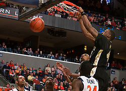 Wake Forest guard L.D. Williams (42) dunks against UVA.  The Virginia Cavaliers fell to the #13 ranked Wake Forest Demon Deacons 70-60 at the John Paul Jones Arena on the Grounds of the University of Virginia in Charlottesville, VA on February 28, 2009.