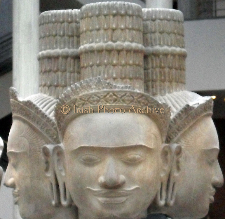 10th Century sculpture of the Hindu God Brahma.  Sandstone from Cambodia, Wat Baset (temple)