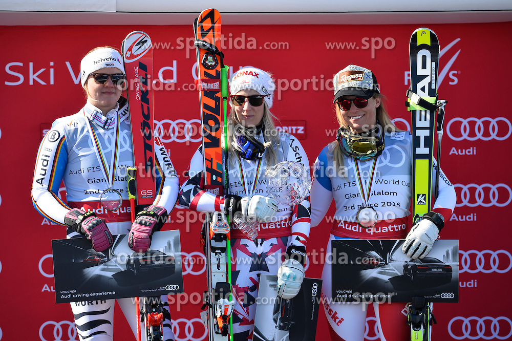 20.03.2016, Engiadina, St. Moritz, SUI, FIS Weltcup Ski Alpin, St. Moritz, Weltcup Siegerehrung, im Bild Viktoria Rebensburg (GER), Eva-Maria Brem (AUT) und Lara Gut (SUI) // during Alpine World Cup award winner ceremony of St. Moritz Ski Alpine World Cup finals at the Engiadina in St. Moritz, Switzerland on 2016/03/20. EXPA Pictures &copy; 2016, PhotoCredit: EXPA/ Freshfocus/ Manuel Lopez<br /> <br /> *****ATTENTION - for AUT, SLO, CRO, SRB, BIH, MAZ only*****
