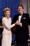 March 6, 2016 - NANCY REAGAN, Ronald Reagan's widow and First Lady from 1981-1989, has died at 94. The cause of death was congestive heart failure. Pictured: Jan 21, 1985 - Washington, DC, U.S. - NANCY REAGAN holds the hand of RONALD WILSON REAGAN as they dance in front of a crowd at the Veterans Inaugural Ball. <br /> ©Michael Evans/Exclusivepix Media