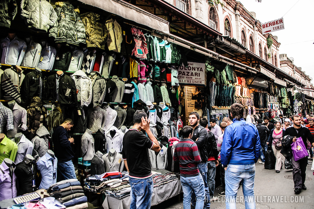 A clothes store on the outside of the building housing Istanbul's historic Grand Bazaar
