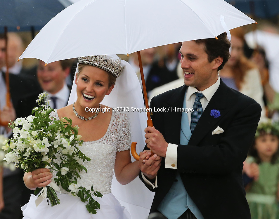 Lady Melissa Percy and Thomas van Straubenzee leaving St.Michaels Church, Alnwick, Northumberland after their wedding ,Saturday, 22nd June 2013<br /> Picture by:  Stephen Lock / i-Images