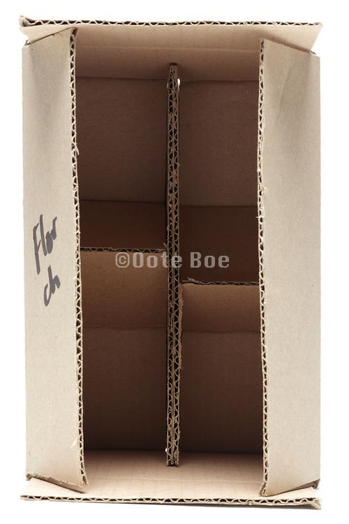 open corrugated carton box with subdivision