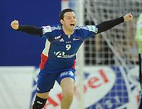Handball EM Herren 2010 Hauptrunde Deutschland - Frankreich 24.01.2010 Guillaume Joli (FRA) jubelt