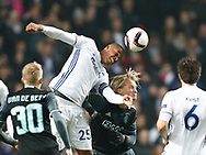FOOTBALL: Mathias Zanka Jørgensen (FC København) jumps above Kasper Dolberg (Ajax Amsterdam) during the UEFA Europa League round of 16, first leg, match between FC København and AFC Ajax at Parken Stadium, Copenhagen, Denmark on Marts 9, 2017. Photo: Claus Birch