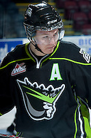 KELOWNA, CANADA -FEBRUARY 7: Curtis Lazar #27 of the Edmonton Oil Kings skates during warm up against the Kelowna Rockets on February 7, 2014 at Prospera Place in Kelowna, British Columbia, Canada.   (Photo by Marissa Baecker/Getty Images)  *** Local Caption *** Curtis Lazar;