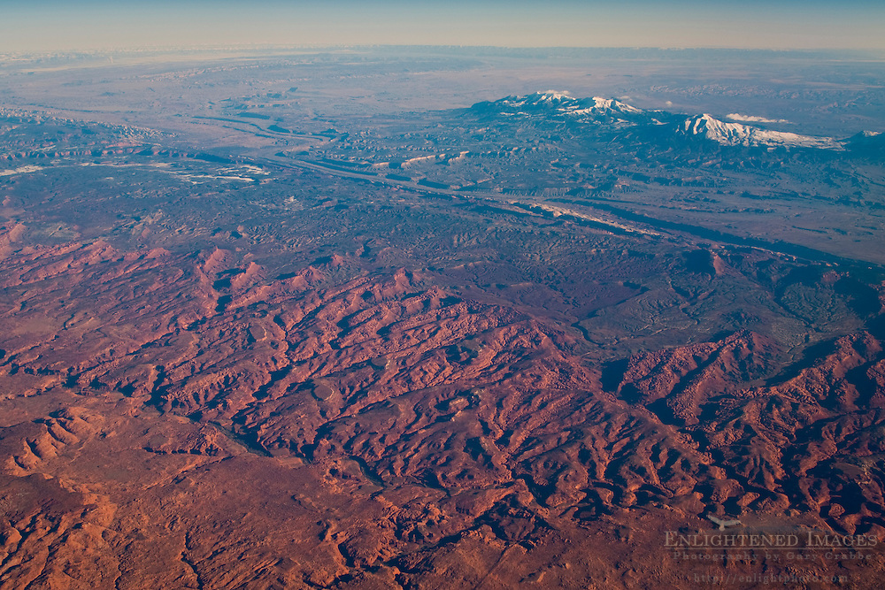 Aerial view over the hills and high desert above Capital Reef National Park; Utah