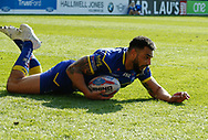 Ryan Atkins of Warrington Wolves scores the try against Hull Kingston Rovers during the Betfred Super League match at the Halliwell Jones Stadium, Warrington<br /> Picture by Stephen Gaunt/Focus Images Ltd +447904 833202<br /> 14/04/2018