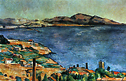 Marseille', 1883-1885. Oil on canvas. Paul Cezanne (1839-1906) French Post-Impressionist painter. France Landscape Sea Bay Coast Blue