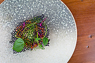 Tartare of sea trout, pickled mussel, sesame seed, squid ink at OX Restaurant in Belfast, Northern Ireland