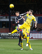 Dundee&rsquo;s Danny Williams and St Johnstone&rsquo;s Richard Foster challenge for a high ball - Dundee v St Johnstone in the Ladbrokes Scottish Premiership at Dens Park, Dundee - Photo: David Young, <br /> <br />  - &copy; David Young - www.davidyoungphoto.co.uk - email: davidyoungphoto@gmail.com