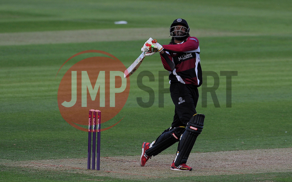 Somerset's Chris Gayle hits out - Photo mandatory by-line: Harry Trump/JMP - Mobile: 07966 386802 - 05/06/15 - SPORT - CRICKET - Somerset v Hampshire - The County Ground, Taunton, England.